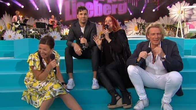 Lotta Engberg, Robin Bengtsson, Shirley Clamp och Tommy Nilsson skrattar åt roliga skämt. Foto: TV4