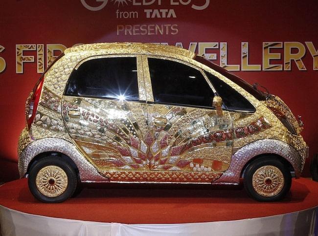 TOKPIMPAD. Den indiska budgetbilen Tata Nano Goldplus är värderad till 32 miljoner kronor.