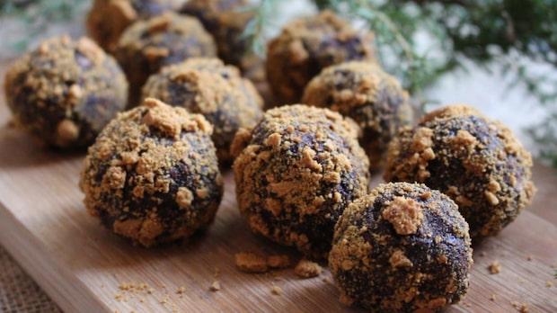 Chokladbollar med pepparkaksdumle