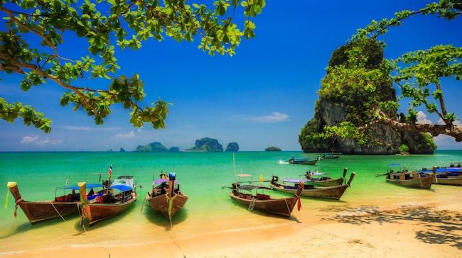 Railay Beach utanför Krabi är en av Thailands mest kända.