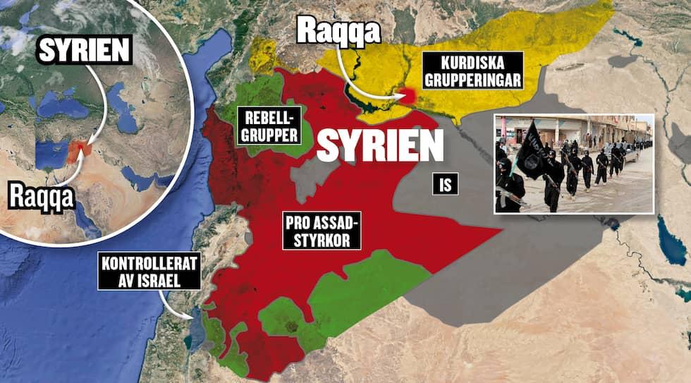 Så kontrollerar parterna områden i krigets Syrien. Källa: syria.liveuamap.com Foto: EXPRESSEN