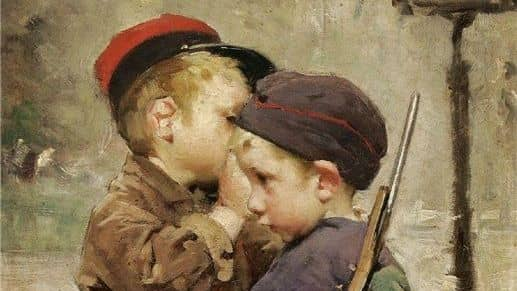 """""""Lär man barnen att kön inte finns, så säger de så klart att kön inte finns"""", säger psykiatern David Eberhard. Målning: Henry-Jules-Jean Geoffroy (1853-1924) - """"Le consigne"""". Foto: WIKIMEDIA COMMONS"""