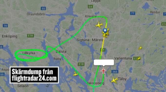 Planet cirkulerade i 45 minuter över Arlanda. Foto: Flight radar 24