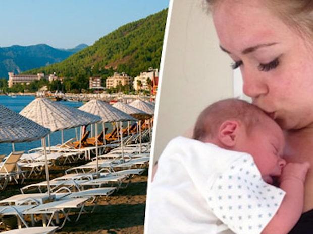 Stephanie visste inte att hon var  gravid – födde barn på solresan