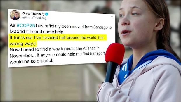Greta Thunbergs vädjan om hjälp efter flyttade klimatmötet