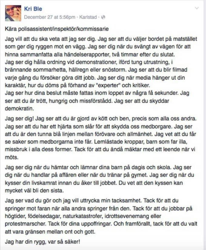 Kristoffers öppna brev till polisen har delats och gillats av tusentals människor. Foto: Skärmdump