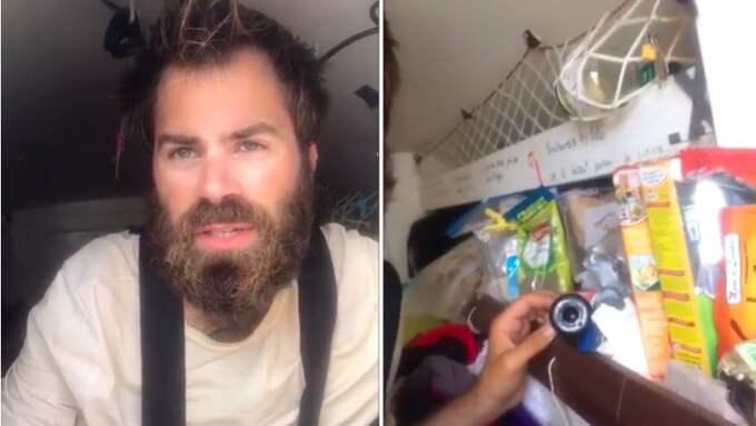Baptiste Dubanchet och hans matförråd på båten. Foto: Youtube.