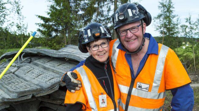 <span>Ulrika och Åke Gustavsson jobbar tillsammans som bergssprängare.</span>