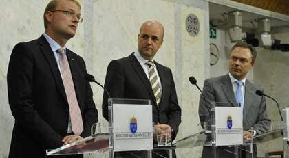 Tobias Krantz, Fredrik Reinfeldt och Jan Björklund. Foto: Bertil Ericson / Scanpix