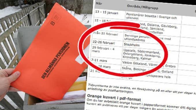 Sveriges pensionärer fick sina orange kuvert redan i januari. Nu skickas kuverten ut till resten av befolkningen, från norr till söder. Foto: TT/Pensionsmyndigheten