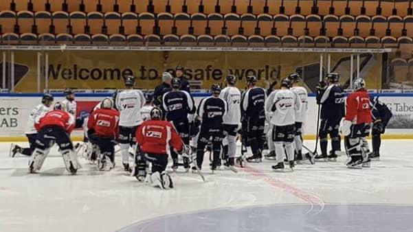 David Ullström inte med på dagens träning i Kinnarps arena Foto: Robin Lindgren