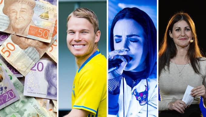 Fotbollspelaren Oscar Lewicki: 1 307 700 kronor. Artisten Miriam Bryant: 988 400 kronor. Komiker och programledaren Nour El Refai: 1 264 600 kronor. Foto: Shutterstock/TT