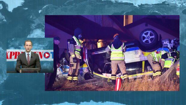 Polisbil har voltat av vägen – två poliser skadade