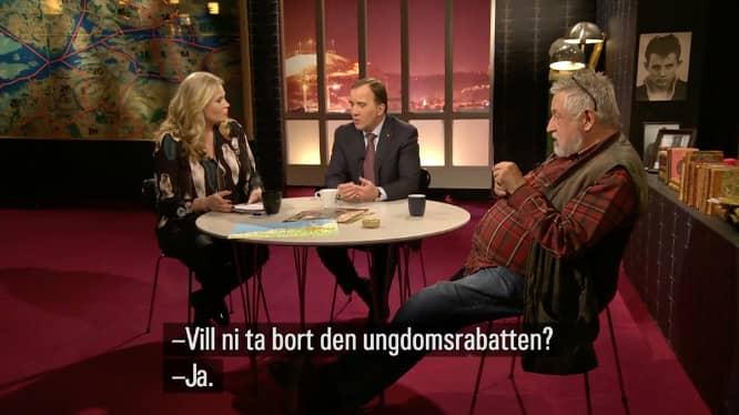 """""""Mer resurser till polisen, hårdare straff och effektivare kameraövervakning är några av lösningarna"""", säger Stefan Löfven i Veckans brott. Foto: Skärmdump/SVT"""