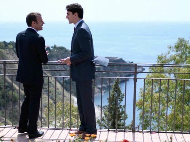Romantiska mötet mellan Macron och Trudeau får internet att jubla