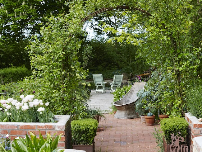 Annelis älsklingsplats är här i korgstolen utanför växthuset. Hit når kvällssolen och från dammen i bakgrunden hörs ett meditativt porlande.
