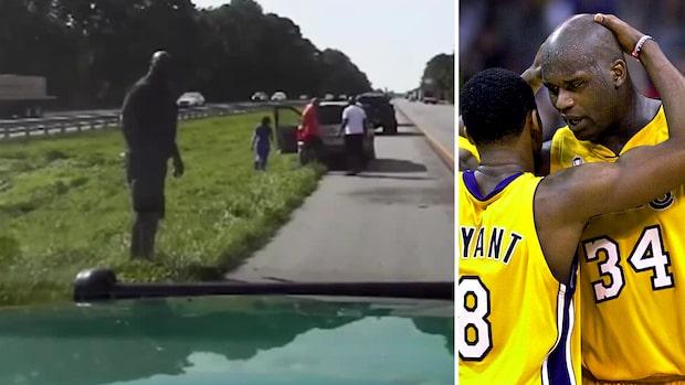 Basketstjärnan oväntad hjälte på motorvägen