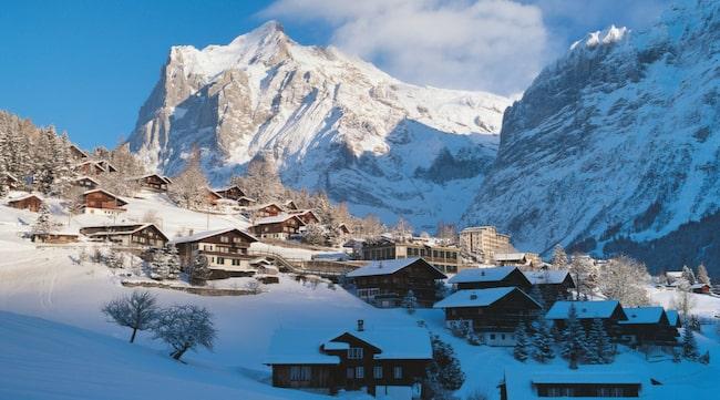 Vykortsvackra Grindelwald i Schweiz.