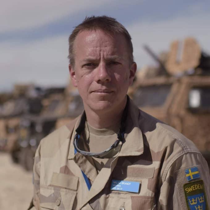 Ta reda på läget. Stabschef Niklas Brandt är på plats i Timbuktu för att leda gruppen med underrättelsesoldater. Nu väntar de på att basen ska bli klar så att all utrustning kan skickas ned. Foto: Martin Von Krogh/Expressen