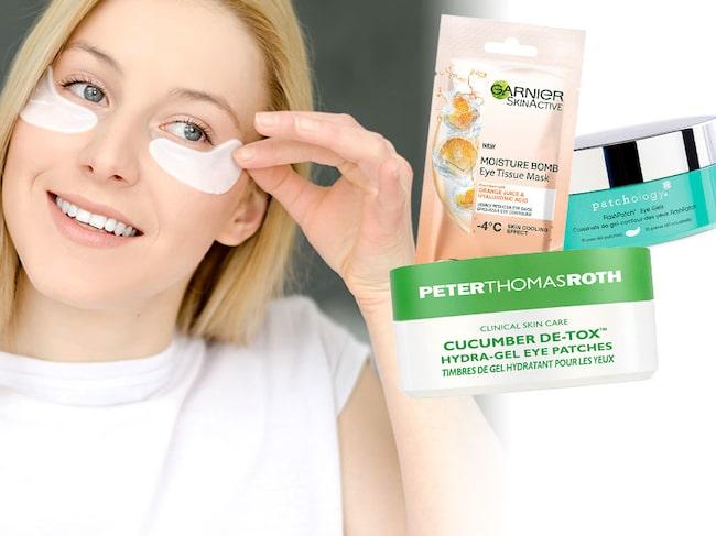 Skönhetsexperten testar plåsterliknande ögonmasker.