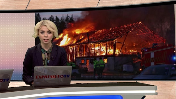 Våldsam brand på bondgård utanför Lidköping