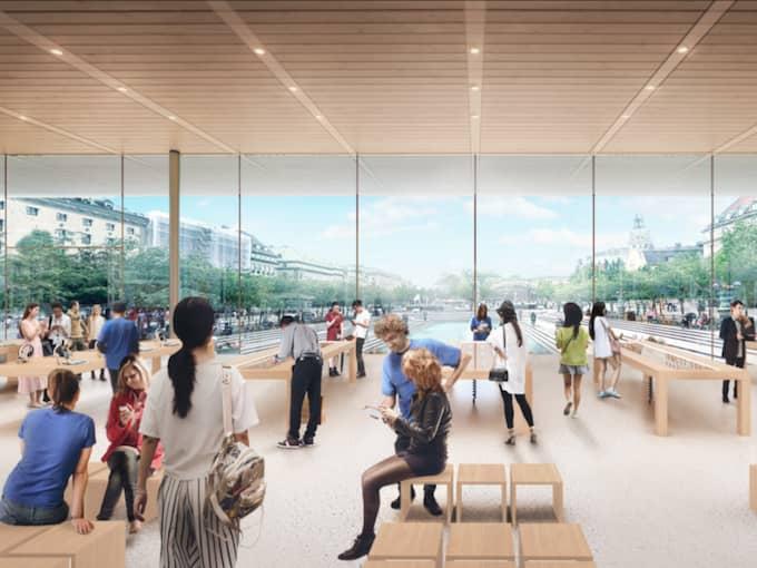 FÖRÄNDRAR STADSBILDEN. Nästa helg kommer Apple officiellt presentera projektet. Butiken, som ska byggas i Kungsträdgården, kan komma att se ut så här enligt skisserna. Foto: Apple/Forster and partners