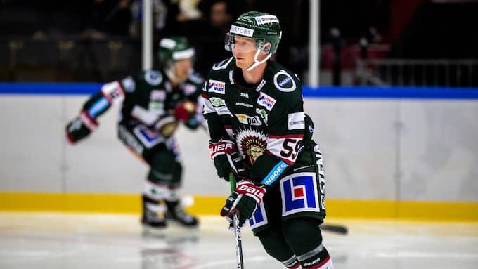 Simon Hjalmarsson, Frölundas förste målskytt mot Leksand. Foto: HENRIK JANSSON / GT/EXPRESSEN
