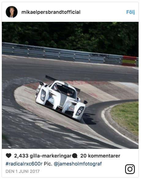 Skådespelarens racingbil, en Radical RXC600R, ligger ute för försäljning på Blocket, enligt Aftonbladet.
