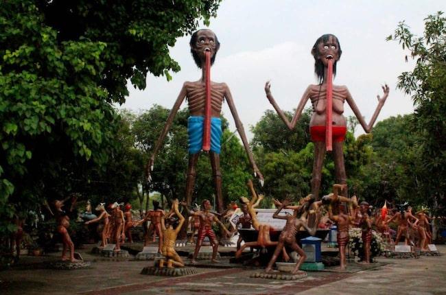 <span>Helvetets trädgård,Wang Saen Suk, i Bangkok, Thailand.<br></span>
