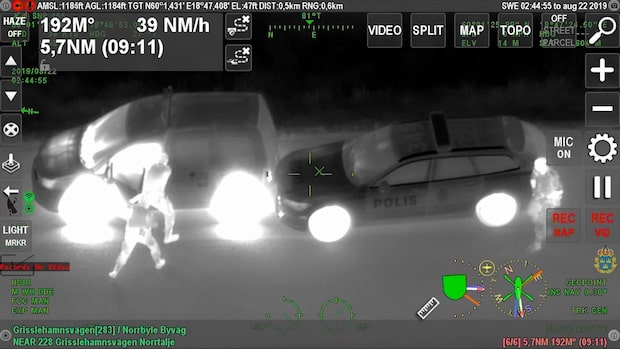 Videon visar biljakten från polisens helikopter