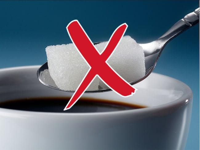 Dietisten avråder från socker i kaffet.