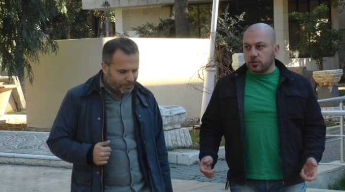 Kassem Hamadé, Expressen, with Khaled al-Asaads son Tarek.