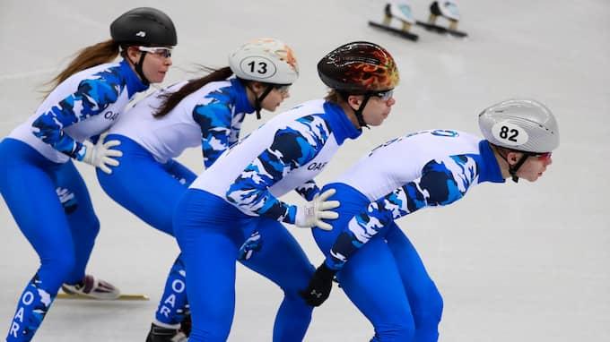 Short track-åkare från OAR. Foto: HOW HWEE YOUNG / EPA / TT / EPA TT NYHETSBYRÅN