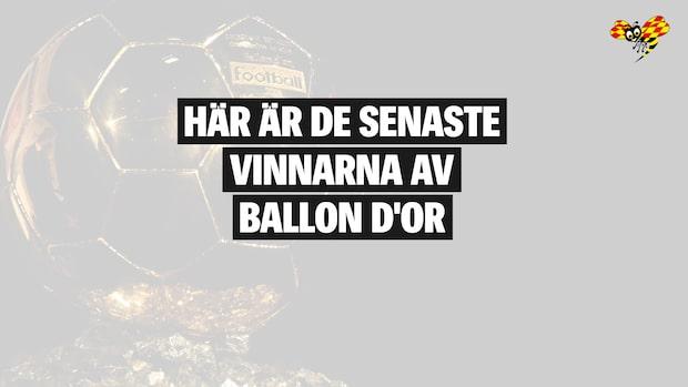 Här är de senaste vinnarna av Ballon d'Or