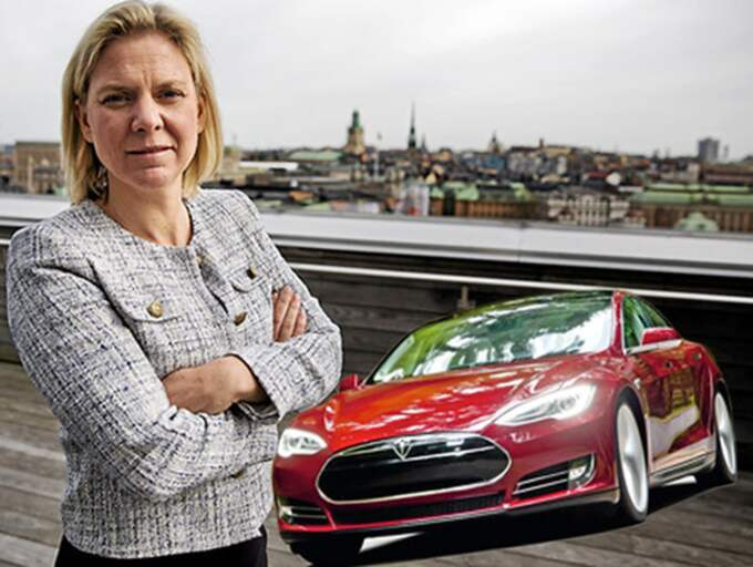 """Finansminister Magdalena Andersson har kallat svensk ekonomi för """"en Tesla"""". Men risken är att Sverige kommer bli som Malmö, utan förmåga att bära sina kostnader. Bilden är ett montage. Foto: Lisa Mattisson/Tesla"""