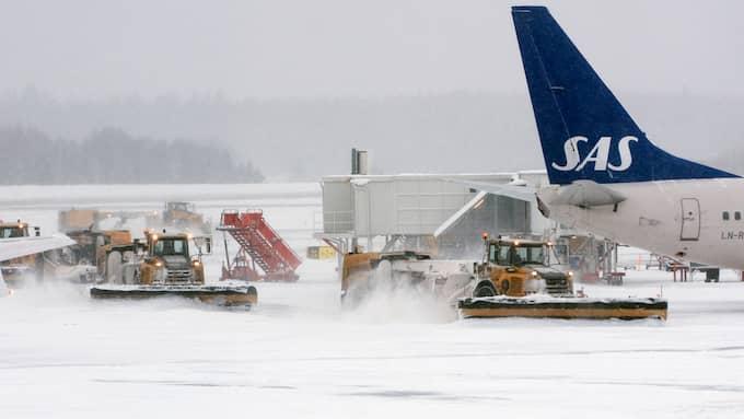 Ett 20-tal SAS-flyg har ställts in på grund av vädret på Arlanda. Arkivbild. Foto: JOHAN NILSSON / TT