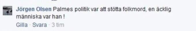 Jörgen Olsen gör en halv pudel men säger att han äcklas över Palmes politik. Foto: Skärmdump