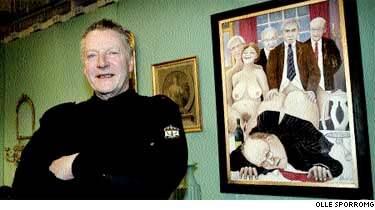 Konstnären Gunder Norells tavla på antikmässan i Älvsjö har upprört besökarna. En målning ska vara tvetydig, och jag tycker att man kan tolka den som man vill, säger konstnären.