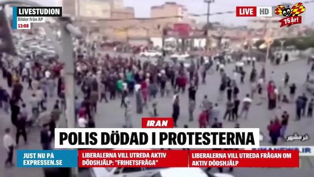 Polis dödad i protesterna i Iran