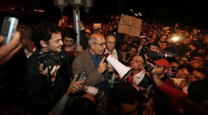 Mohamed ElBaradei talade till demonstranterna på Tahrirtorget i Kairo på söndagen. Foto: Peter Macdiarmid