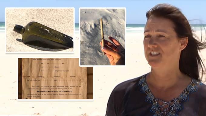 Tonya Illman fann världens äldsta flaskpost på en strand i Australien. Foto: CNN