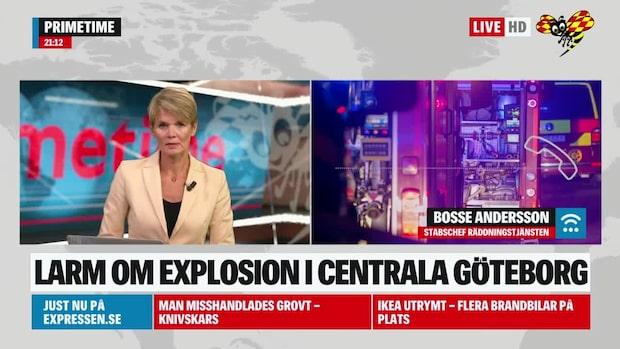 Larm om explosion i centrala Göteborg