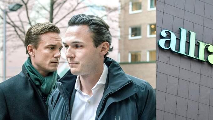 Olle Marcusson, vd för Allras fondbolag i Luxemburg, och Allras vd Alexander Ernstberger. På fredagen häktades Marcusson. Senare under fredagen häktades även Ernstberger. Foto: TT/SVD