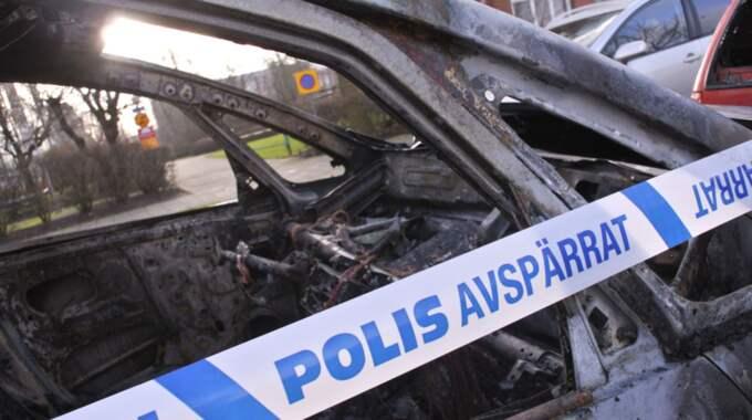Bil som brunnit. Bilden är inte från helgens händelser. Foto: Johan Nilsson / Tt / TT NYHETSBYRÅN