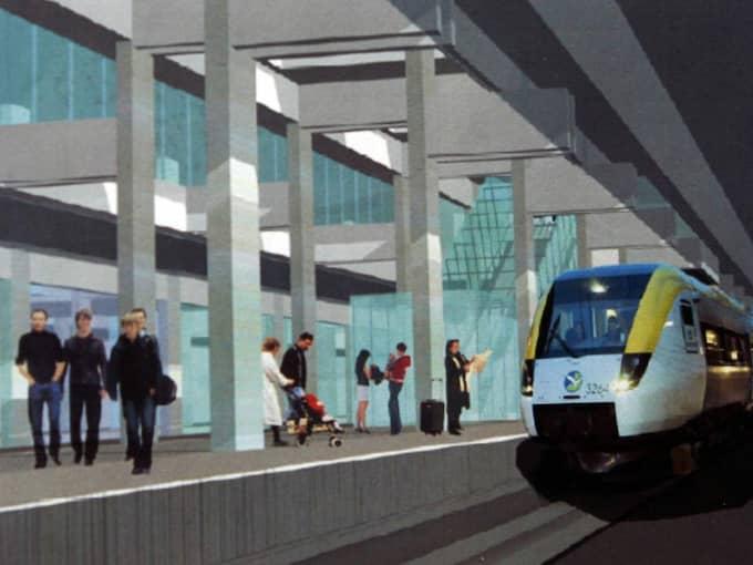 Så här ska den framtida stationen Korsvägen se ut på västlänken - även med en uppgång mot Avenyn. Foto: Per Wissing