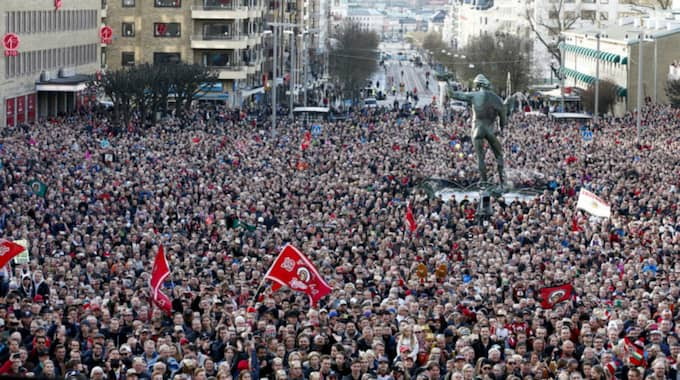 Hela Göteborg firade hjältarna dagen efter guldet. Foto: Michael Erichsen / BILDBYRÅN