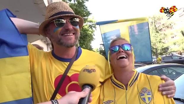 Här laddar de svenska fansen i Madrid