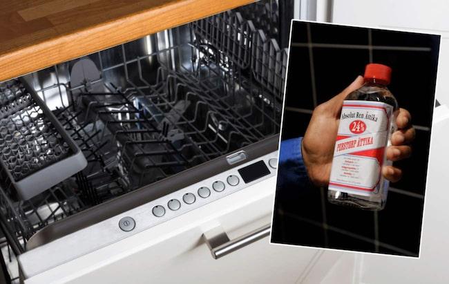 Du rengör enkelt din diskmaskin genom att stoppa in en kopp med ättika på översta hyllan och köra på högsta temperatur. Stänk sedan lite natriumbikarbonat på botten och kör en omgång till. Nu är maskinen ren!