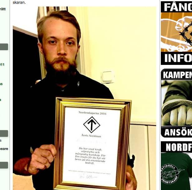 William Börjesson, 22, får inte äga vapen – för att han är med i NMR. Foto: POLISEN