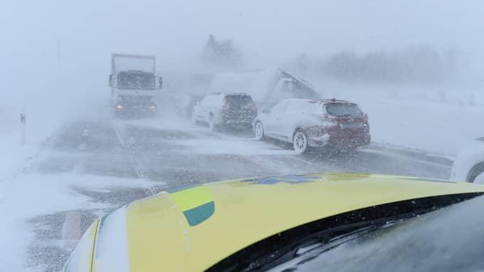 Sikten var bara några meter när olyckan på väg 11 inträffade mellan Sjöbo och Tomelilla. Foto: Anders Grönlund